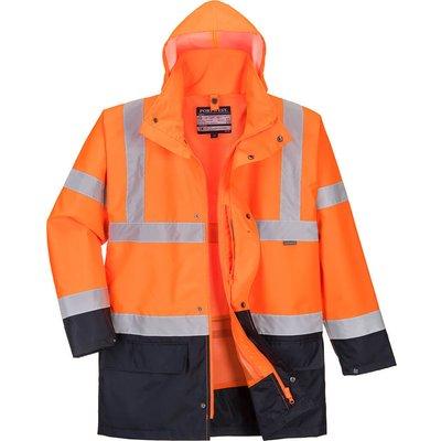 Essential 5 in 1 Hi Vis Jacket Orange / Navy XS