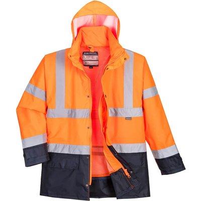 Oxford Weave 300D Class 3 Hi Vis 5-in1 Executive Jacket Orange / Navy XS