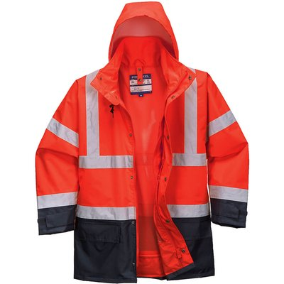 Oxford Weave 300D Class 3 Hi Vis 5-in1 Executive Jacket Red / Navy L