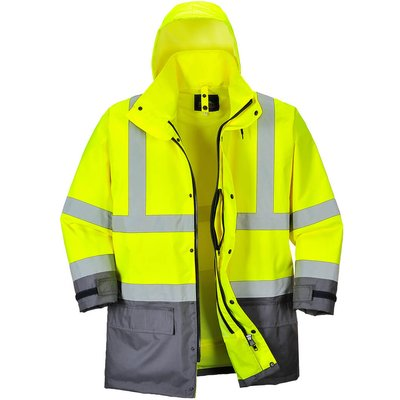Oxford Weave 300D Class 3 Hi Vis 5-in1 Executive Jacket Yellow / Grey M