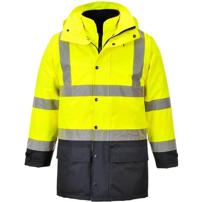 Oxford Weave 300D Class 3 Hi Vis 5-in1 Executive Jacket Yellow / Navy 4XL