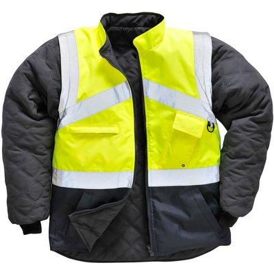 Oxford Weave 300D Class 1:2 Hi Vis 2-Tone Reversible Jacket Yellow / Navy S