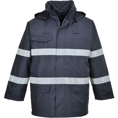 Biz Flame Flame Resistant Rain Multi Protection Jacket Navy L