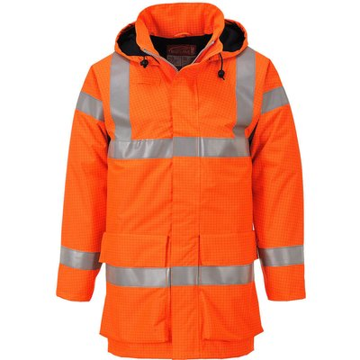 Biz Flame Hi Vis Flame Resistant Rain Multi Lite Jacket Orange M