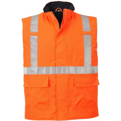 Biz Flame Hi Vis Flame Resistant Rain Bodywarmer Orange S
