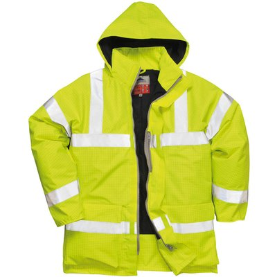 Biz Flame Hi Vis Flame Resistant Rain Jacket Yellow XS