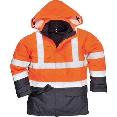 Biz Flame Hi Vis Flame Resistant Rain Multi Protection Jacket Orange / Navy 2XL