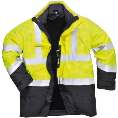 Biz Flame Hi Vis Flame Resistant Rain Multi Protection Jacket Yellow / Navy XS