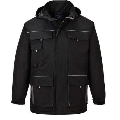 Portwest Mens Texo Contrast Waterproof Rain Jacket Black M