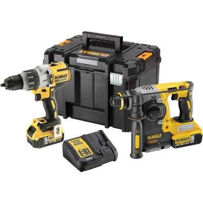 DeWalt DCK229P2T 18v XR Cordless Brushless Combi Drill and SDS Drill Kit 2 x 5ah Li-ion Charger Case