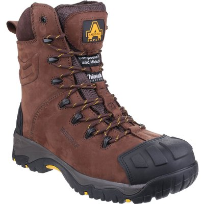 Amblers Mens Safety As995 Pillar Waterproof Hi-Leg Safety Boots Brown