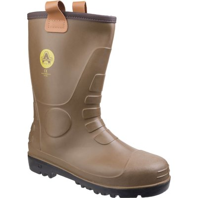 Amblers Mens Safety FS95 Waterproof PVC Pull On Safety Rigger Boots Tan