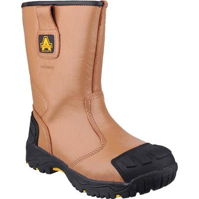 Amblers Mens Safety FS143 Waterproof Safety Rigger Boots Tan