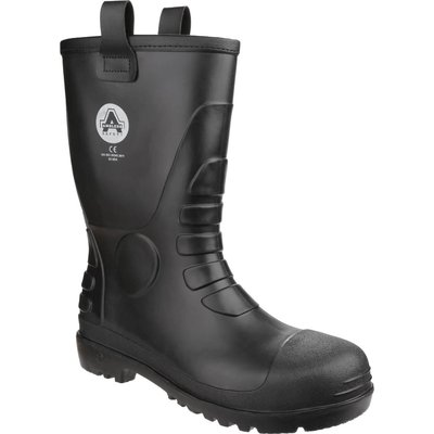 Amblers Mens Safety FS90 Waterproof Pvc Pull On Safety Rigger Boots Black