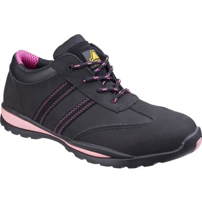 Amblers Safety FS47 Heat Resistant Lace Up Safety Trainer Black / Pink