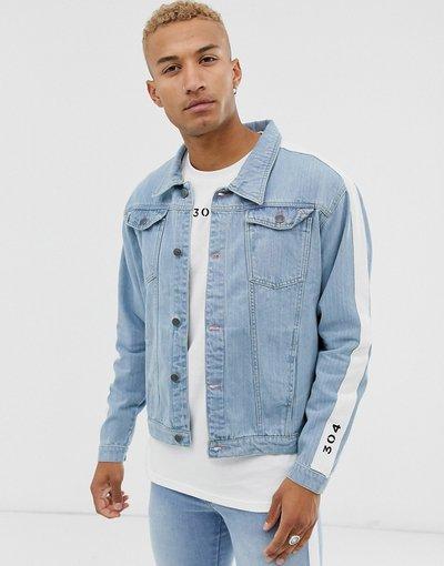 Blu uomo Giacca di jeans con fettuccia - 304 Clothing - Blu