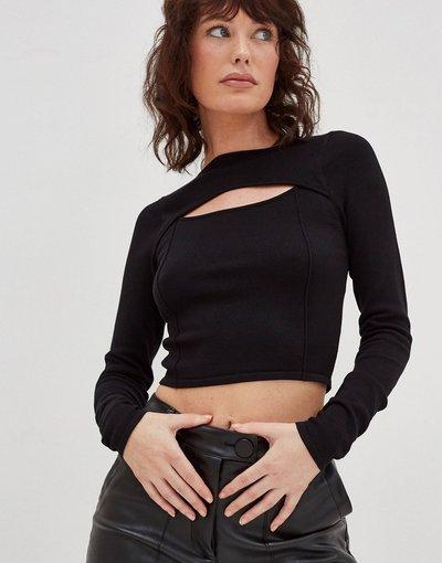 Nero donna Maglione lavorato nero con cut - 4th&Reckless - out
