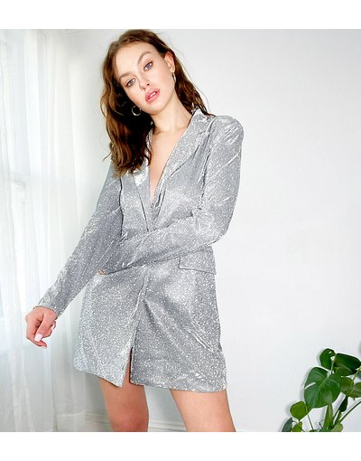 Argento donna Vestito blazer con cintura argento glitterato - 4th&Reckless Tall