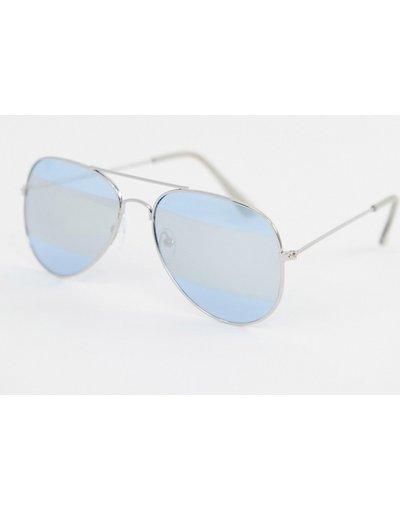 Occhiali Argento uomo Occhiali da sole modello aviatore con lenti a specchio con righe - Argento - 7x