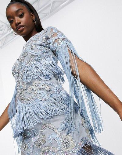 Blu donna Vestito decorato blu ghiaccio con maniche con frange - A Star Is Born