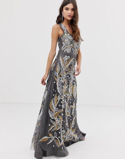 Grigio donna Vestito lungo decorato grigio con scollo squadrato - A Star Is Born