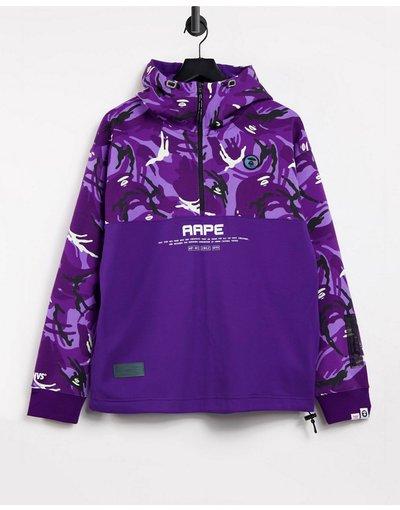 Felpa Viola uomo Felpa con cappuccio e zip corta viola mimetico - AAPE By A Bathing Ape - Neo World