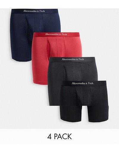Intimo Multicolore uomo Confezione da quattro paia di boxer aderenti con logo ripetuto nero/grigio/rosa - Abercrombie&Fitch - Multicolore