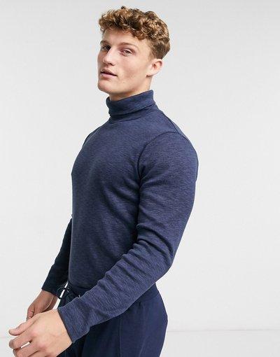 Blu navy uomo Maglione a collo alto lavorato a maglia fine blu navy e nero mélange - Abercrombie&Fitch