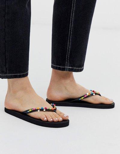 Infradito Multicolore donna Infradito neri con finiture fluo con perline - Accessorize - Multicolore