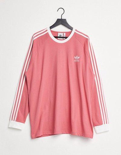 T-shirt Rosa uomo Shirt a maniche lunghe con tre righe, colore rosa - adidas Originals - adicolor - T