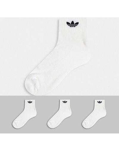 Intimo Bianco uomo Confezione da 3 calzini alla caviglia bianchi con trifoglio - adicolor Trefoil - adidas Originals - Bianco