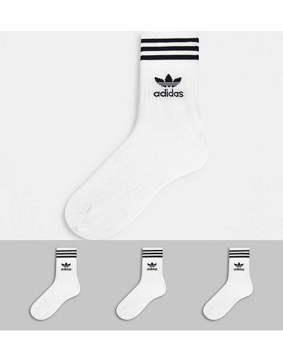 Intimo Bianco uomo Confezione da 3 paia di calzini alla caviglia bianchi - adicolor Trefoil - adidas Originals - Bianco