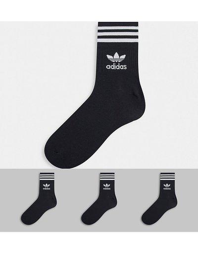 Intimo Nero uomo Confezione da 3 paia di calzini alla caviglia neri - adicolor Trefoil - adidas Originals - Nero