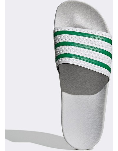 Infradito Bianco uomo Slider bianche e verdi - adidas Originals - adilette - Bianco