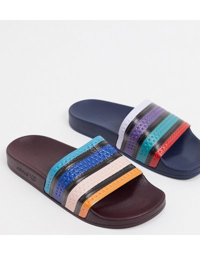 Novita Multicolore uomo Slider spaiate a righe multi colorate - adidas Originals - Multicolore - Adilette