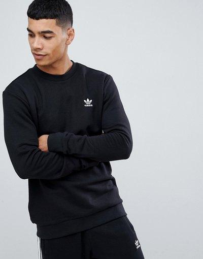 Felpa Nero uomo Felpa nera con piccolo logo ricamato - adidas Originals - Nero