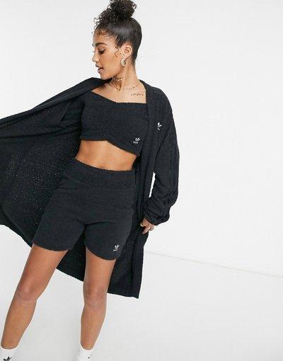 Nero donna Cardigan oversize in maglia soffice nero - adidas Originals - Relaxed Risqué