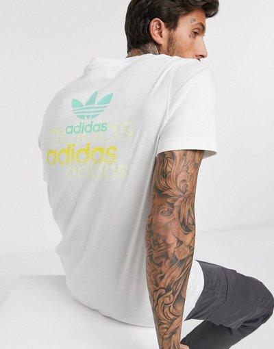 T-shirt Bianco uomo shirt bianca con logo e stampa sul retro - adidas Originals - Bianco - T