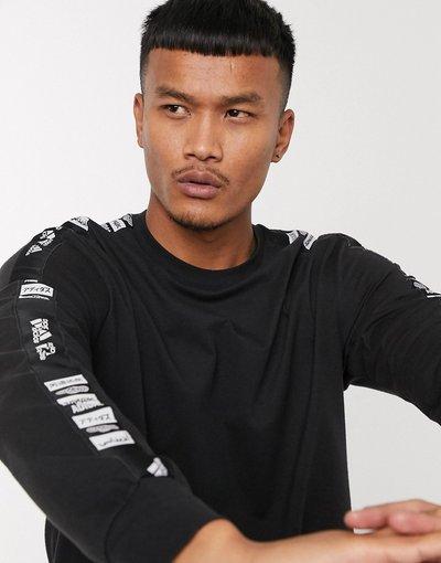 T-shirt Nero uomo shirt a maniche lunghe nera con fettuccia con logo - adidas Training - Nero - T