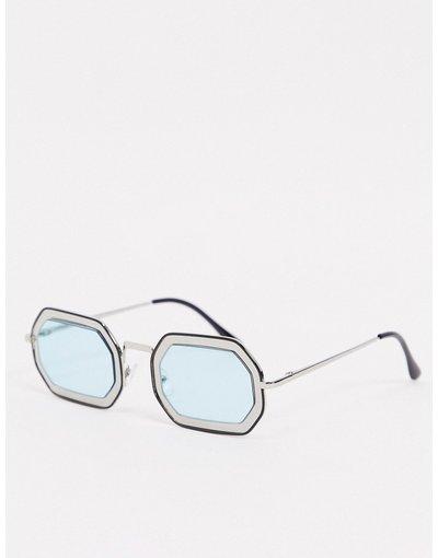 Occhiali Argento uomo Occhiali da sole angolari argento con lenti cut - AJ Morgan - out