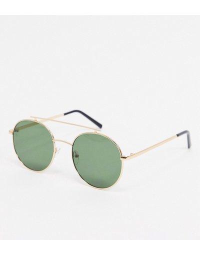 Occhiali Oro uomo Occhiali da sole rotondi oro con barretta piatta - AJ Morgan
