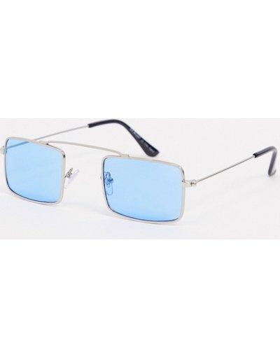 Occhiali Argento uomo Occhiali da sole slim squadrati argento con lenti blu - AJ Morgan