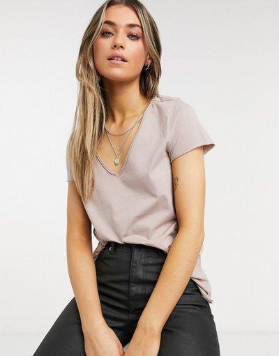 T-shirt Grigio donna shirt in tessuto Tonic nero con scollo a V - AllSaints - Emelyn - Grigio - T