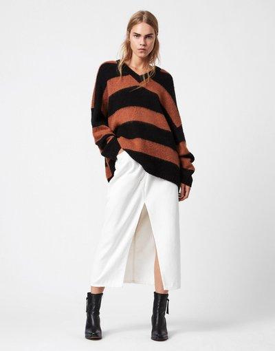 Marrone donna Maglione con scollo a V in maglia marrone castagna a righe nere - AllSaints - Lou