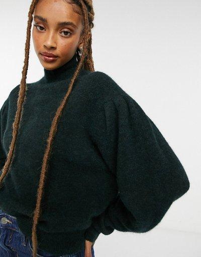 Verde donna Maglione accollato con maniche voluminose verde bosco - AllSaints - Vika