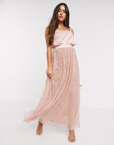 Oro donna Gona lunga in tulle con paillettes sfumate rosa - Amelia Rose - Oro