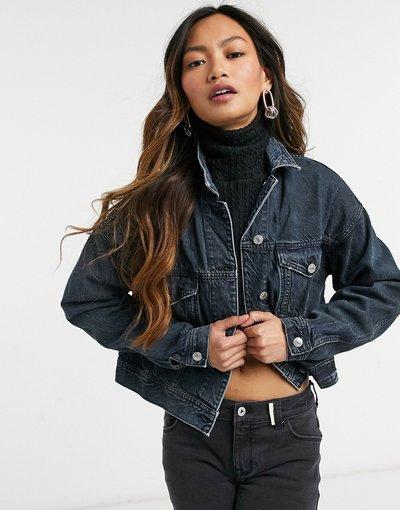 Blu donna Giacca di jeans lavaggio blu scuro - American Eagle