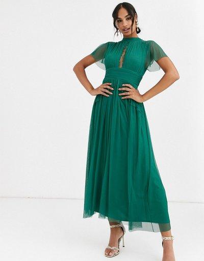 Verde donna Vestito midi in tulle con inserti in pizzo verde smeraldo - Anaya With Love