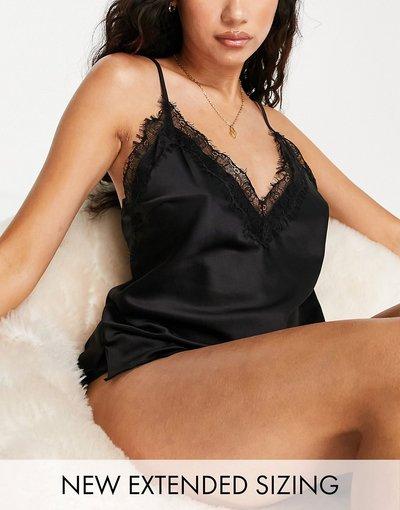 Pigiami Nero donna Completo con canottiera e pantaloncini in raso nero con bordi in pizzo - Ann Summers - Cherryann