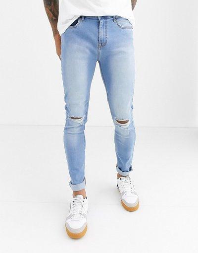 Jeans Blu uomo Jeans skinny blu con strappi sulle ginocchia - Another Infleunce - NOA
